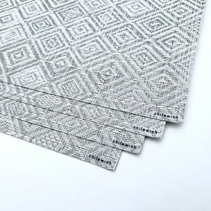"""(4) CHILEWICH Mosaic Placemats in Grey 14""""x19"""""""