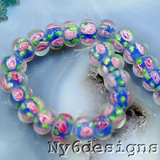 12x7mm Lampwork Blue Flower Rondelle Beads 26pcs (M77)a for diy jewelry