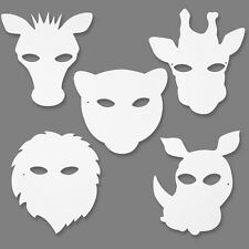 White Card Jungle Animal Masks 20x22cm Elastic Kids Craft Activity Pack 16 Ass