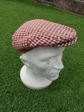 Flat Cap Mens Golf Hat Gatsby Baker Boy 56cm Red Peaky Blinders Houndstooth