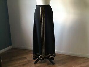 """70's Long Black/Gold Evening Skirt By Carl Olsen For Sale ! UK 8-10 .Waist 28"""""""