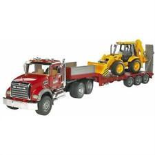 Bruder Toys 02813 Mack Granite Flatbed Truck with JCB Loader Backhoe
