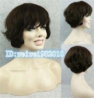 100% human hair wig women's short layered curly black 1B,dark brown Hair Wigs