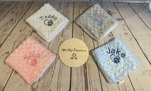 PERSONALISED DOG PUPPY TAGGY MINI BLANKET FLEECE KITTEN CAT ANY NAME GIFT