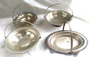 Set of 4 Vintage/Antique Swivel Handle EPNS Bridal Baskets - All Different