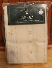 Ralph Lauren 2 Standard Pillowcases Prairie Plains Vintage Rose Stripe - TC450