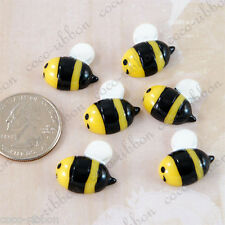 8pcs 20mm Yellow Bee Bumble Bee Bumblebee Insect Flatback Resin Cabochons G28