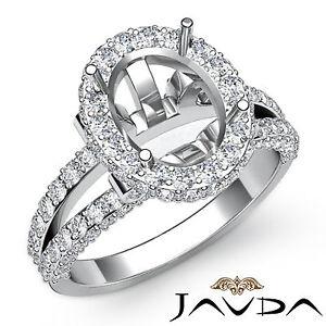 Diamond Engagement Ring 18k White Gold Oval Semi Mount Halo Pave Setting 1.4Ct