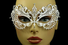 LASER CUT VENETIAN MASK masquerade costume White New Wedding crystal rhinestones