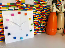 Handmade MOnkiStuff Designed Wall Clock Gloss WHITE, made using LEGO® Bricks