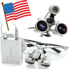 USA Dentist Student Dental Surgical Loupes 3.5X 420mm With LED Head Light Lamp