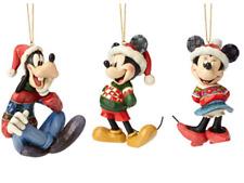 Jim Shore Enesco Disney Traditions Mickey, Minnie, Goofy Hanging Ornament Set