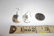 Vintage Carved Abalone Faux Claw Tooth Tusk Sterling hook earrings