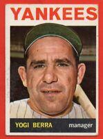 1964 Topps #21 Yogi Berra VG-VGEX+ WRINKLE MARKED HOF New York Yankees FREE S/H