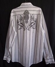 Level Ten Dress Shirt Men XXL White GRAY Pinstripe Graphic Griffon L/S Button Up