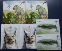 Guyana 1993 Pfadfinder Scouts Wal Dinosaurier Eule Silber Gold Block 263-268 MNH
