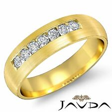 Round Channel Sets Diamond Mens Half Wedding Band Ring 14k Yellow Gold 0.70Ct