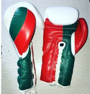 New Custom professional Red & Dark Green & White boxing gloves, any logo Name,