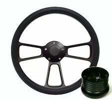 Hot Rod Street Rod Rat Rod Truck Black PBK Billet Steering Wheel, Horn & Adapter