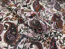 4 Metres Pink & Brown Paisley & Floral 100% Viscose Summer Printed Dress Fabric.