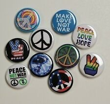 "10 PEACE NOT WAR Buttons Pinbacks Badges 1"" Hippie No War"
