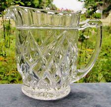 PRETTY VINTAGE CLEAR DEPRESSION GLASS DIAMOND PATTERN JUG