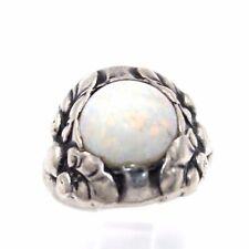 RAREST Vtg DENMARK Modernist GEORG JENSEN Sterling Silver OPAL Ring 11B Sz 3.5