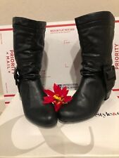 Style & Co. Yesme Black Boots Vegan Leather buckle details size 8 NEW!