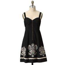 Anthropologie Floreat Sanora Eyelet Black Floral Embroidered Rockabilly Dress  8