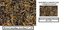COMBO! CAMO RUG SET - Brown Camouflage AREA Rug 37x52  & MATCHING Doormat 18x30