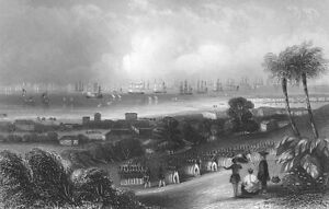 OPIUM WARS EAST INDIA COMPANY SOLDIERS SINGAPORE 1840 Art Print Engraving RARE!!