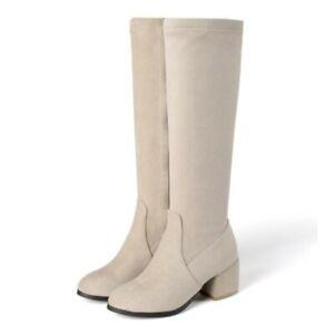 Women's Trendy Round Toe Chunky Heel Zip Up Office Work Knee High Boots 44/48 D