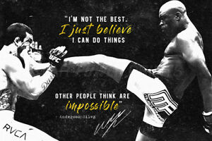 ANDERSON SILVA INSPIRATIONAL MOTIVATIONAL QUOTE POSTER PRINT PHOTO - 12 X 8  MMA