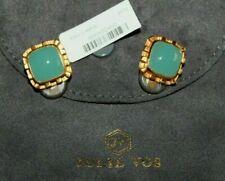 "NWT JULIE VOS Aqua Green Chalcedony 24K Clip Earrings 5/8"""