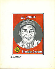T.S. O'Connell Original Artwork - Unissued Baseball Greats - Gil Hodges, Dodgers