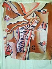 BEAUTIFUL LARGE CAMELLIA  100 % SILK SCARF NWT WOMEN BUTTERFLY  HAND PAINTED