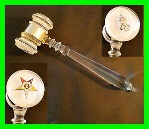 "UNMONOGRAMMED ~ OES Vintage 8"" Eastern Star Masonic Gavel  Acrylic Masons Lodge"