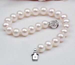 New Natural AAA 9-10mm White Akoya Freshwater Pearl Bracelet 7.5""