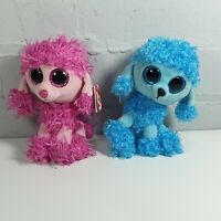 "2 x poodle dog soft toy 6"" ty beanie boo bundle patsy mandy"