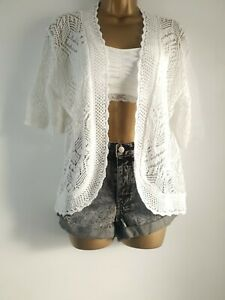 size 16 18 white cotton crochet prairie peasant cardigan by pure and natural