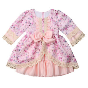 Styles I Love Baby Toddler Girl Lace Flower Vintage Satin Dress, 2 Colors