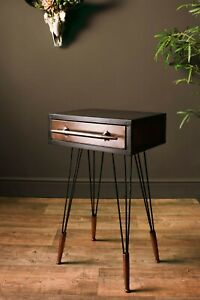 Industrial Style Metal Bedside Cabinet Occasional Table Hairpin Legs Nightstand