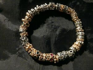 PANDORA Emerald Gold Lights Blue Sapphire Ruby Sterling Two Tone Bracelet Spacer
