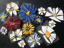 Mixed Color Daisy Flower Mosaic Tiles, 14 Broken Cut China Plate Tiles