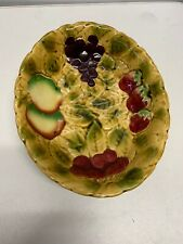 Sarregumines Majolica Fruit Design Oval Bowl 10 Inch Long