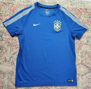 Nike Brazil/Brasil CBF Blue Soccer/Futbol Training Jersey~Size Youth L (10-12)