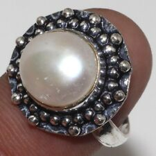 S28059 Pearl 925 Sterling Silver Plated Gemstone Ring Us 7.5
