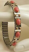 Pink Coral Bracelet Bangle Jewelry Silver Anniversary Gift Gold 24k Hnmade 2.5ct