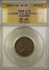 1828 13 Stars Rotated Dies Classic Head 1/2c Coin C-3 ANACS EF-45 Details Clnd.
