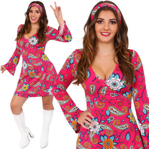LADIES 1960S 1970S HIPPY FANCY DRESS COSTUME HIPPY WOMENS OUTFIT FLOWER POWER